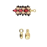 4 Gold-Plated Vourkoti Superduo Bead Ending