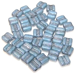 40 Grooved Tile 2-Hole Czech Glass Groovy Beads - Chalk Blue