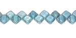 40 Czech Glass Silky 2-Hole 6mm Beads - Chalk Blue Luster