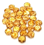 30 Czech Glass 6mm Honeycomb Hex 2-Hole Beads - Chalk Dark Travertine