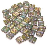 40 Grooved Tile 2-Hole Czech Glass Groovy Beads - Chalk Lazure Blue