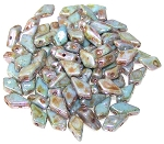 7.5 Grams of 9x5mm Czech Glass Kite Beads - Chalk Lazure Blue