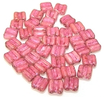 40 Grooved Tile 2-Hole Czech Glass Groovy Beads - Chalk Red Luster