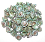 10 Czech Glass 10x12mm 3-Petal Flower Beads - Chalk White Blue Luster