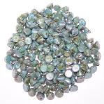 5 Grams of 4mm Czech Glass Button Beads - Chalk White Blue Luster