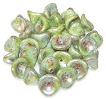 10 Czech Glass 10x12mm 3-Petal Flower Beads - Chalk White Green Luster