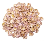 7.5 Grams of Czech 1-Hole 6mm Lentil Beads - Chalk White Lila Gold Luster