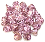 10 Czech Glass 10x12mm 3-Petal Flower Beads - Chalk White Terracotta Purple