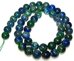 1 Dozen 8mm Round Semiprecious Gemstone Beads - Chrysocolla Dyed