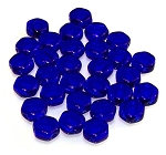 30 Czech Glass 6mm Honeycomb Hex 2-Hole Beads - Cobalt