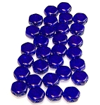 30 Czech Glass 6mm Honeycomb Hex 2-Hole Beads - Cobalt Luster