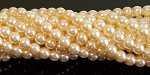 1 Strand of Czech Glass 6mm Pearl Beads - Cream