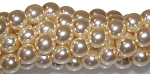 1 Strand of Czech Glass 8mm Pearl Beads - Cream