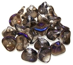 10 Czech Glass 10x12mm 3-Petal Flower Beads - Crystal Azuro