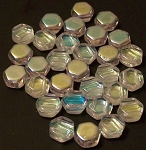 30 Czech Glass 6mm Honeycomb Hex 2-Hole Beads - Crystal Ab