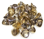 10 Czech Glass 10x12mm 3-Petal Flower Beads - Crystal Amber
