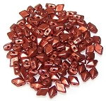 5 Grams of MINI DiamonDuo 2-Hole Czech Glass 4x6mm Beads - Crystal Bronze Fire Red