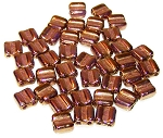 40 Grooved Tile 2-Hole Czech Glass Groovy Beads - Crystal Bronze