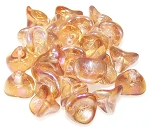 10 Czech Glass 10x12mm 3-Petal Flower Beads - Crystal Brown Rainbow