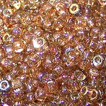 7.5 Grams Of Miyuki Czech Unions Size 8 Seed Beads - Crystal Brown Rainbow