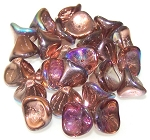 10 Czech Glass 10x12mm 3-Petal Flower Beads - Crystal Copper Rainbow
