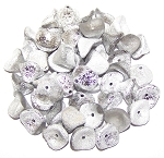 10 Czech Glass 10x12mm 3-Petal Flower Beads - Crystal Etched Labrador Full