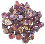 10 Czech Glass 10x12mm 3-Petal Flower Beads - Crystal Etched Sliperit Full