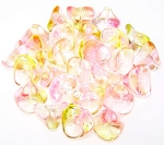 10 Czech Glass 10x12mm 3-Petal Flower Beads - Crystal Fuchsia Lemon
