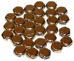 30 Czech Glass 6mm Honeycomb Hex 2-Hole Beads - Crystal Full Amber