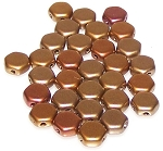 30 Czech Glass 6mm Honeycomb Hex 2-Hole Beads - Crystal Gold Rainbow