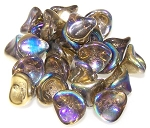 10 Czech Glass 10x12mm 3-Petal Flower Beads - Crystal Golden Rainbow