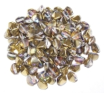 7.5 Grams of Czech 7mm Pinch Beads - Crystal Golden Rainbow