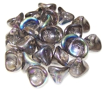 10 Czech Glass 10x12mm 3-Petal Flower Beads - Crystal Graphite Rainbow