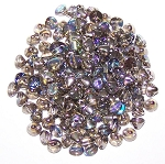 5 Grams of 4mm Czech Glass Button Beads - Crystal Graphite Rainbow