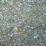 7.5 Grams Of Miyuki Czech Unions Size 8 Seed Beads - Crystal Green Rainbow
