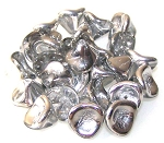 10 Czech Glass 10x12mm 3-Petal Flower Beads - Crystal Labrador