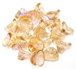 10 Czech Glass 10x12mm 3-Petal Flower Beads - Crystal Lemon Rainbow