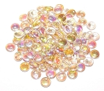 7.5 Grams of Czech 1-Hole 6mm Lentil Beads - Crystal Lemon Rainbow