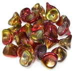 10 Czech Glass 10x12mm 3-Petal Flower Beads - Crystal Magic Apple