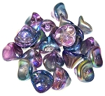 10 Czech Glass 10x12mm 3-Petal Flower Beads - Crystal Magic Blue