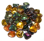 10 Czech Glass 14x13mm Petals - Crystal Magic Copper