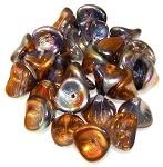 10 Czech Glass 10x12mm 3-Petal Flower Beads - Crystal Magic Copper