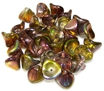 10 Czech Glass 10x12mm 3-Petal Flower Beads - Crystal Magic Green