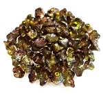 25 Czech Glass 7x5mm Flower Cup Beads - Crystal Magic Green