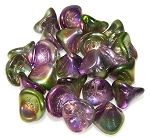 10 Czech Glass 10x12mm 3-Petal Flower Beads - Crystal Magic Orchid