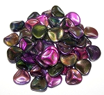 10 Czech Glass 14x13mm Petals - Crystal Magic Purple