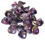 10 Czech Glass 10x12mm 3-Petal Flower Beads - Crystal Magic Purple