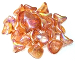 10 Czech Glass 10x12mm 3-Petal Flower Beads - Crystal Orange Rainbow