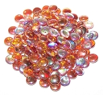 7.5 Grams of Czech 1-Hole 6mm Lentil Beads - Crystal Orange Rainbow