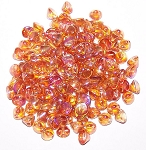 5 Grams of 4mm Czech Glass Button Beads - Crystal Orange Rainbow
